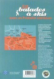 52 balades à skis dans les Pyrénées Centrales - 4ème de couverture - Format classique