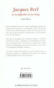 Jacques Brel Ou La Difficulte D'Etre Belge - 4ème de couverture - Format classique