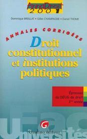 Annadroit 2001. droit constitutionnel et institutions publiques - Intérieur - Format classique