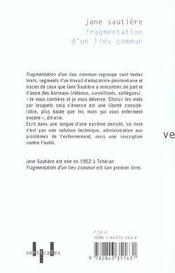 Fragmentation D'Un Lieu Commun - 4ème de couverture - Format classique