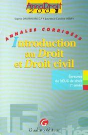 Anna droit 2001 introduction au droit civil - Intérieur - Format classique