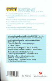 Anna droit 2001 introduction au droit civil - 4ème de couverture - Format classique