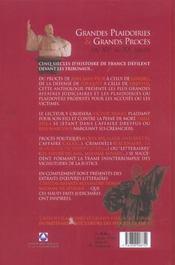Grandes Plaidoiries Et Grands Proces Du Xv Au Xx Siecle - 4ème de couverture - Format classique