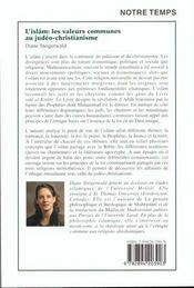 L'islâm: les valeurs communes au judéo-christianisme - 4ème de couverture - Format classique