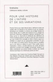 Pour une histoire de l'intime et de ses variations - 4ème de couverture - Format classique