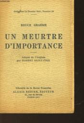 Un Meurtre D'Importance - Couverture - Format classique