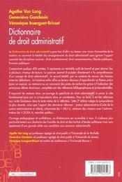 Dictionnaire De Droit Administratif ; 3e Edition - 4ème de couverture - Format classique