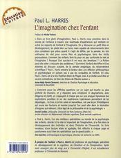 L'imagination chez les enfants ; son rôle crucial dans le développement cognitif et affectif - 4ème de couverture - Format classique