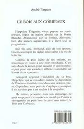 Les bois des corbeaux - 4ème de couverture - Format classique