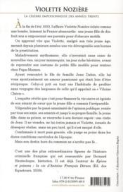 Violette Nozière ; la célèbre empoisonneuse des années trente - 4ème de couverture - Format classique
