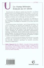 Le champ litteraire francais au xxe siecle - elements pour une sociologie de la litterature - 4ème de couverture - Format classique