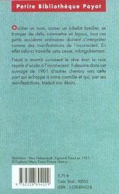 Psychopathologie de la vie quotidienne - 4ème de couverture - Format classique