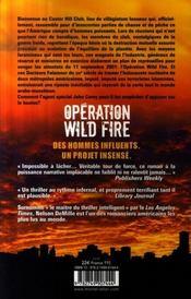 Operation wild fire - 4ème de couverture - Format classique