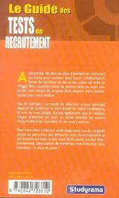 Le guide des tests de recrutement - 4ème de couverture - Format classique