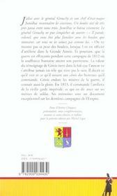 Memoires du general griois marechal de camp d'artillerie, baron de l'empire - 1812-1822 - 4ème de couverture - Format classique