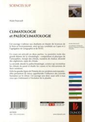 Climatologie et paléoclimatologie - 4ème de couverture - Format classique