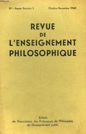 REVUE DE L'ENSEIGNEMENT PHILOSOPHIQUE, 11e ANNEE, N° 1, OCT.-NOV. 1960 - Couverture - Format classique