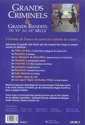Grands criminels et grands bandits, du xve au xxe siecle - 4ème de couverture - Format classique