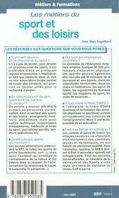 Metiers Du Sport Et Des Loisirs - 4ème de couverture - Format classique