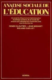 Analysesociale De L'Education - Couverture - Format classique