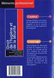 Droit de l'hygiene et de la securite - 4ème de couverture - Format classique
