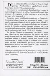 Féminité et communauté chez Hegel ; le rapport de l'esthétique au politique dans le système - 4ème de couverture - Format classique