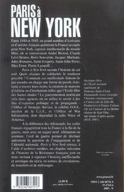 Paris à New York ; intellectuels et artistes français en exil, 1940-1947 - 4ème de couverture - Format classique