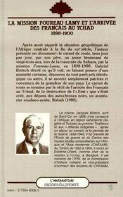 Mission Foureau-Lamy Et L'Arrivee Des Francais ... - 4ème de couverture - Format classique