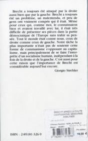 Brecht après la chute ; confessions, mémoires, analyses - 4ème de couverture - Format classique