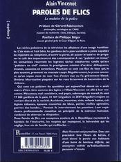 Paroles de flic - 4ème de couverture - Format classique