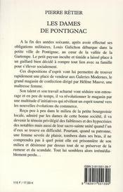Les dames de Pontignac - 4ème de couverture - Format classique