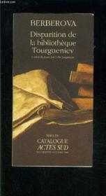 Disparition de la bibliothèque Tourgueniev - Couverture - Format classique