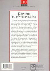 Economie Du Développement. Les Théories, Les Expériences, Les Perspectives - 4ème de couverture - Format classique