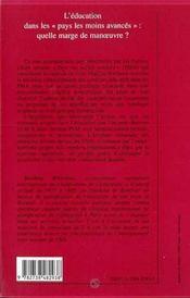 L'Education Dans Les Pays Les Moins Avances ; Quelle Marge De Manoeuvre ? - 4ème de couverture - Format classique