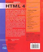 Html 4 ; student edition - 4ème de couverture - Format classique