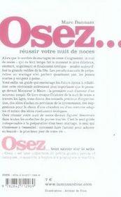 OSEZ ; réussir votre nuit de noces - 4ème de couverture - Format classique