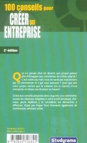 100 conseils pour creer son entreprise - 4ème de couverture - Format classique