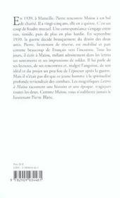 Lettres A Maiou. Septembre 1939 - Juin 1940 - 4ème de couverture - Format classique