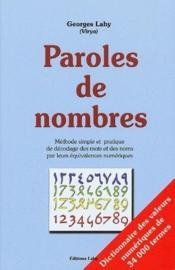 Paroles de nombres - Couverture - Format classique