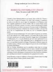 Rimbaud, l'invisible et l'inoui - 4ème de couverture - Format classique