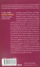 Secrets d'alcove ; histoire du couple de 1830 a 1930 - 4ème de couverture - Format classique