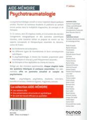 Aide-mémoire ; psychotraumatologie ; en 51 notions (3e édition) - 4ème de couverture - Format classique