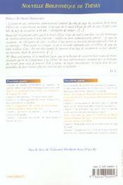 L'etendue du controle de cassation devant le conseil d'etat - volume 13 - un controle tributaire de - 4ème de couverture - Format classique