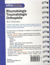 Rhumatologie, traumatologie, orthopédie - 4ème de couverture - Format classique