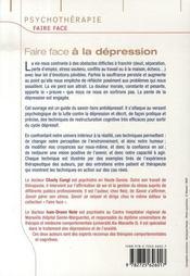 FAIRE FACE ; à la dépression - 4ème de couverture - Format classique