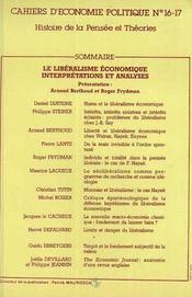Cahiers D'Economie Politique N.16/17 ; Le Libéralisme Economique ; Interprétations Et Analyses - 4ème de couverture - Format classique