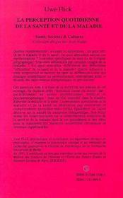 La Perception Quotidienne De La Sante Et De La Maladie - 4ème de couverture - Format classique