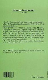 La Guerre Buissonniere, 1939-1946 - 4ème de couverture - Format classique
