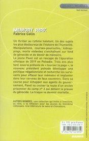 Memory park - 4ème de couverture - Format classique