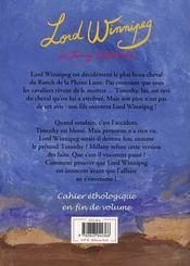 Le Ranch De La Pleine Lune T.4 ; Lord Winnipeg - 4ème de couverture - Format classique